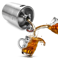 2L Growler Mini Keg Homebrew Paslanmaz Çelik Bira Growler Mini bira Keg, bira şişesi, Ev Bira varil Yapma Bar Aracı