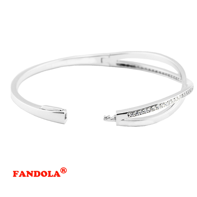 100% 925 Sterling Silver Entwined Charm Bangle Bracelets for Women European Charms and Beads DIY Jewelry Gift FLB031