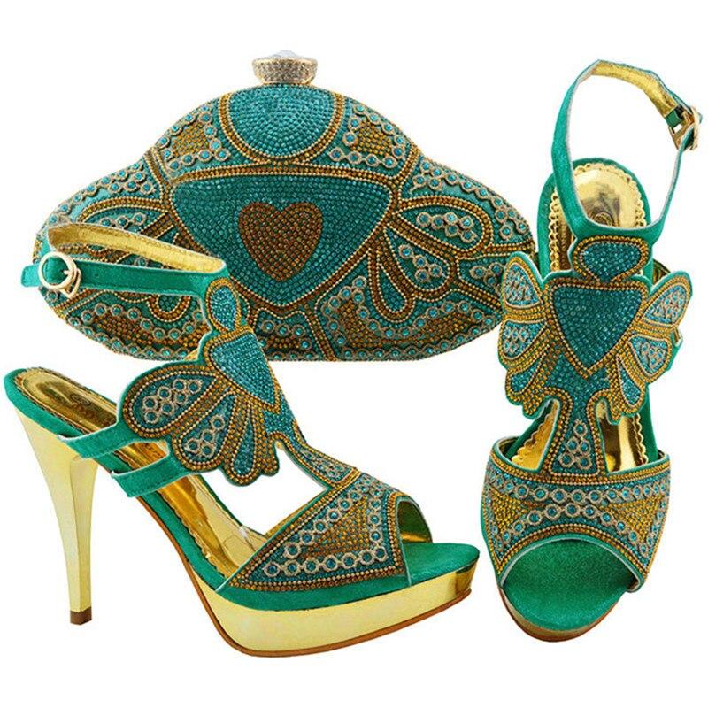 Avec Blue aqua d Décoré orange Africain Strass red Nigérian Correspondant Purple Boucle Sac Chaussures Et Sangle Italien Ensemble or Parti Assorti Pompes UanaHYfxw