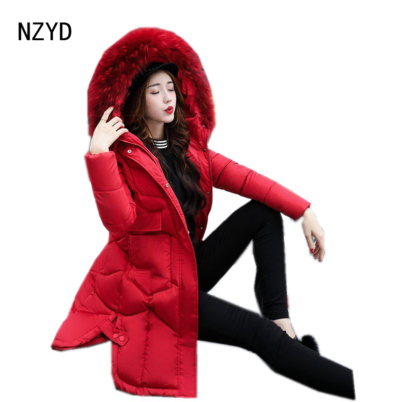 2017 New Women Winter Parkas Fashion Hooded Thick Warm Medium long Down Cotton Jacket Long sleeve Loose Big yards Female Coat 2017 winter classic fashion fur hoodie coat jacket women thick warm long sleeve cotton coats student medium long loose overcoat