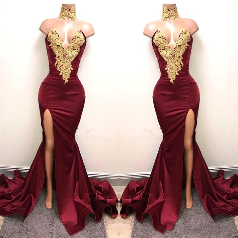 Saudi Arabia   Evening     Dress   Long Mermaid Vestidos De Festa Real Photo   Evening   Gowns Sexy Slit Formal   Dresses   Applique Burgundy