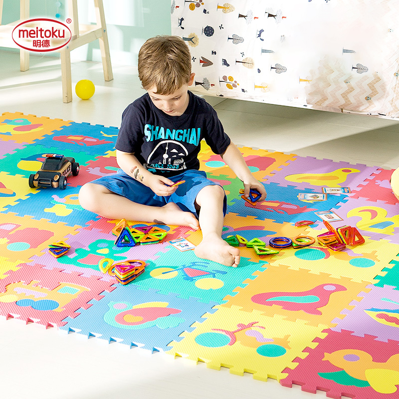 Meitoku Baby EVA Foam Play Puzzle Mat / Interlocking Transportation Floor Rug,Each 32cmX32cm=12