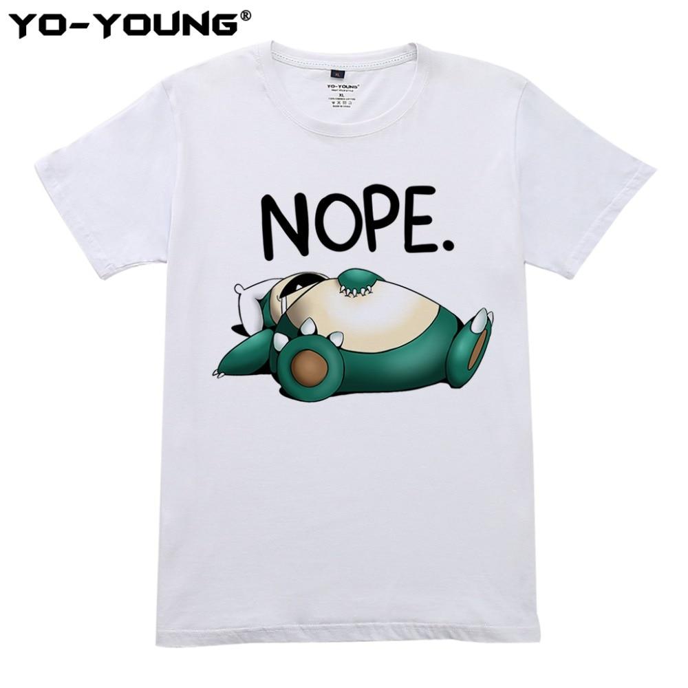 Pokemon Roliga Snorlax Nope Män T-shirt Digital tryckning 100% - Herrkläder