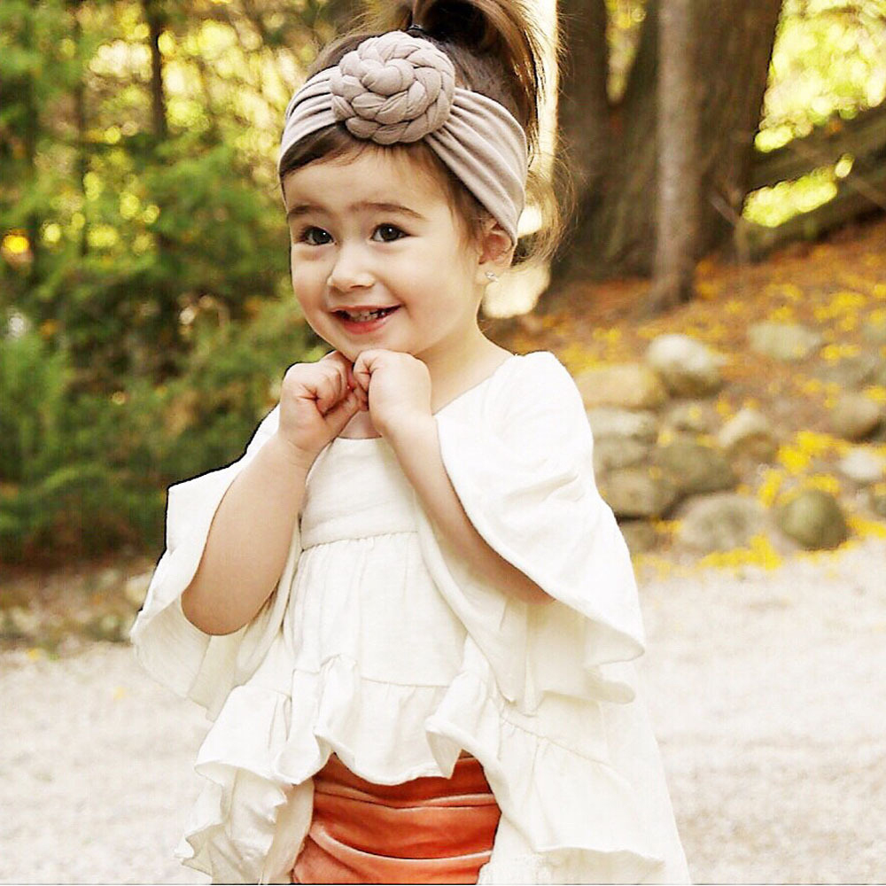 Fashion Baby Headbands Girls Kids Elastic Hair Band Solid Knotted ... 3d60ab2b699