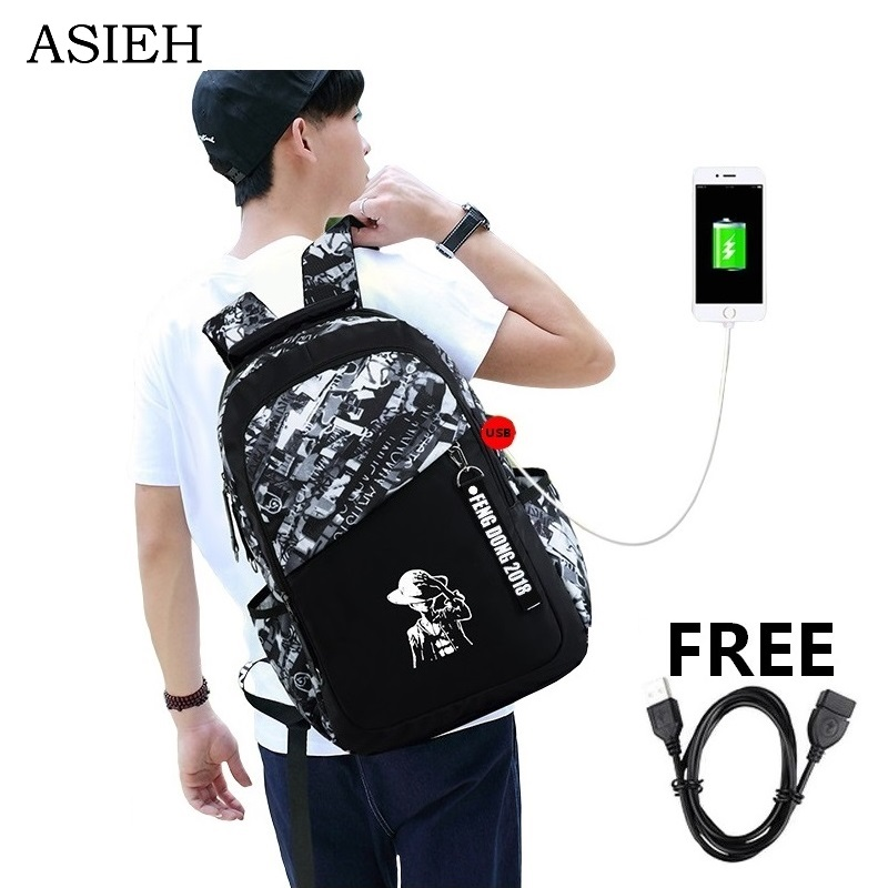 boys black backpack letters large school bags for teenagers high school backpack 15.6 la ...