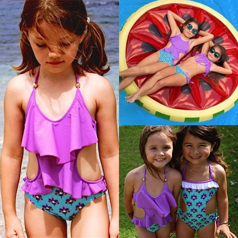 e7d8fc84064df 2017 Toddler Kid Baby Girls Bikini Set Floral Swimwear Swimsuit Monokini  Bathing Suit Swimsuit Low Back High Cut Kids Beachwear-in Children's  One-Piece ...