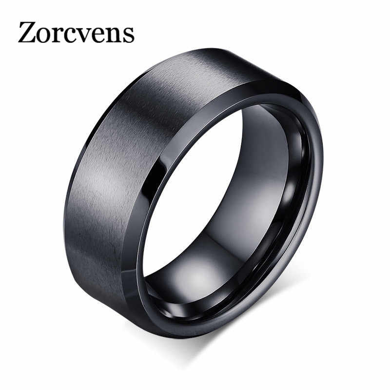 ZORCVENS 2019 New Fashion Charm Jewelry ring men stainless steel Gold/Silver/Black Rings For Women