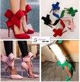 Zapatos mujer primavera modelos de explosión arco de gran tamaño de punta fina con zapatos de tacón alto discoteca zapatos de boda Sapatos