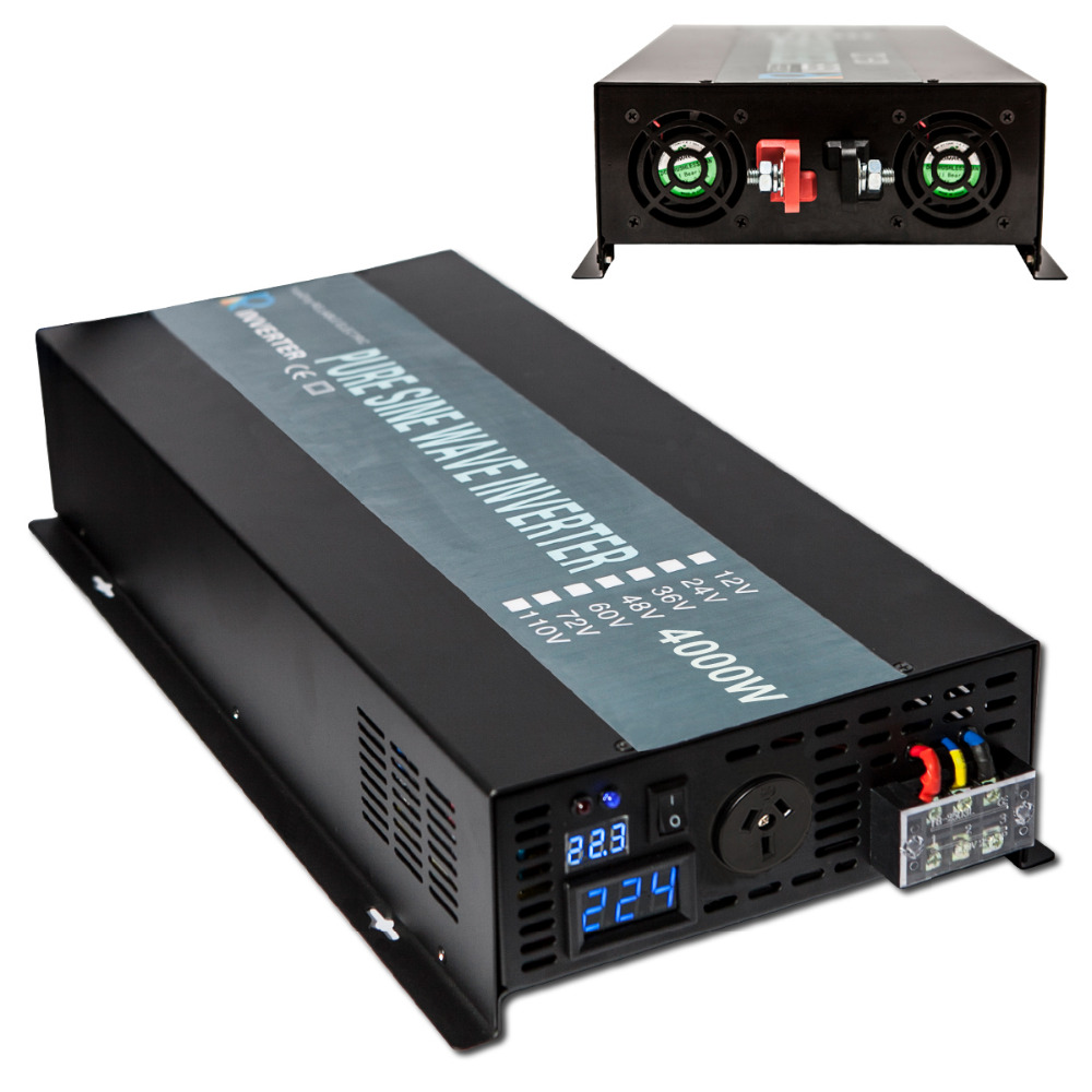 8000W Peak Pure Sine Wave Solar Inverter 4000W Car Power Inverter 12V/24V/48V to 120V/220V DC AC Transformer Home Power Supply dc to ac off grid tied pure sine wave 48v dc 220v ac power inverter 4000w peak 8000w
