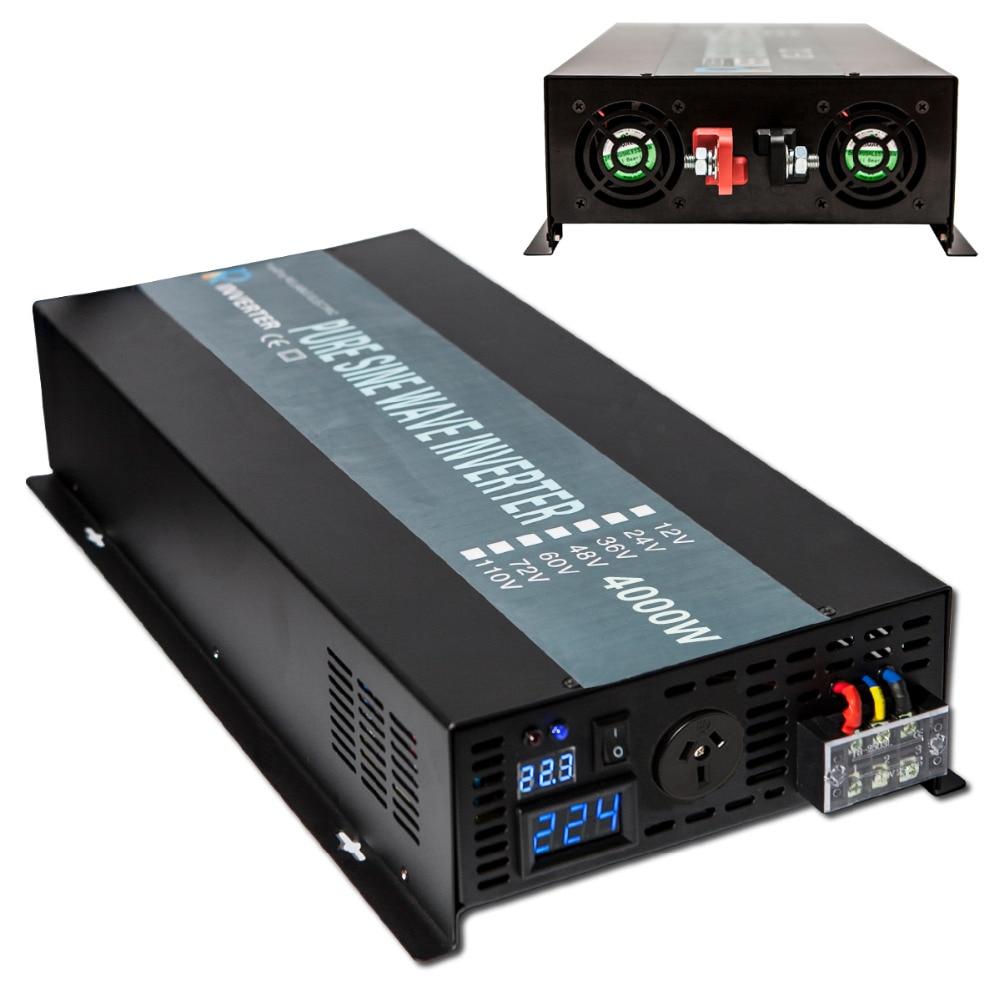 8000W Peak Pure Sine Wave Solar Inverter 4000W Car Power Inverter 12V/24V/48V to 120V/220V DC AC Transformer Home Power Supply