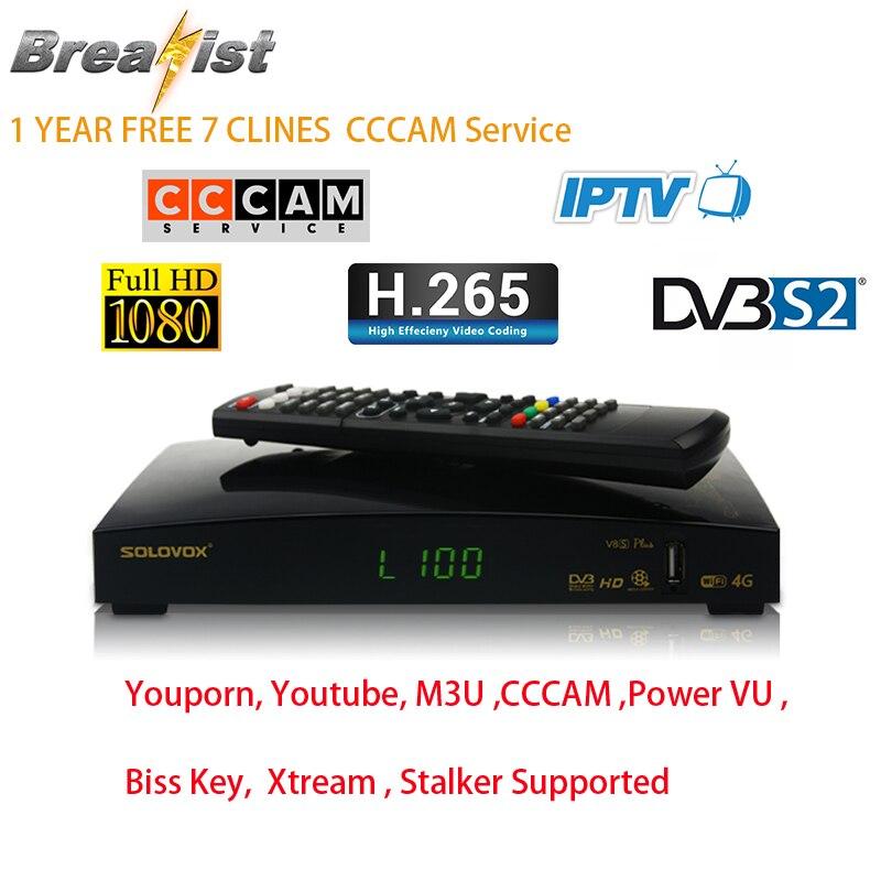 Solovox V8S DVB S2 цифровой спутниковый ТВ-приемник HD MPEG4 H.265 1080 P Декодер каналов кабельного телевидения для европейских Великобритании испанско-по...