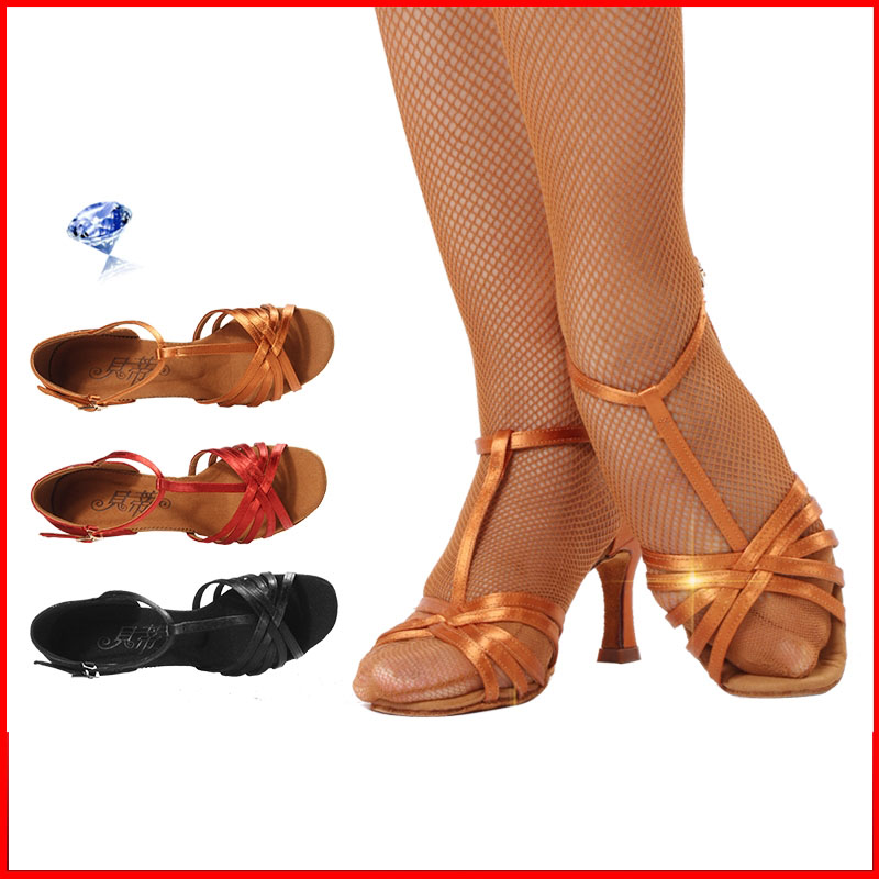 High grade imported Satin Dance shoes Women Soft Bottom BD 217 Ballroom Professional Sports shoes woman