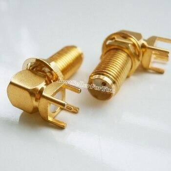 10Pcs SMA female pin jack nut bulkhead right angle Mount PCB Solder Square RF Connector Adapter