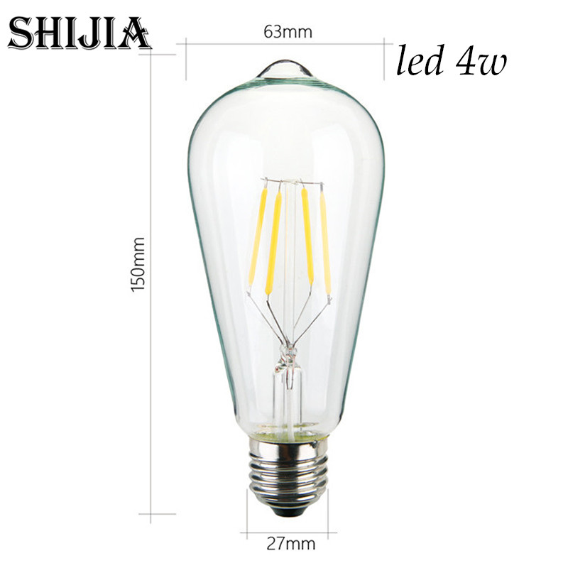 Retro lamp st64 vintage LED edison e27 LED bulb lamp 110 v 220 v 4 W filament Glass lamp 5pcs e27 led bulb 2w 4w 6w vintage cold white warm white edison lamp g45 led filament decorative bulb ac 220v 240v