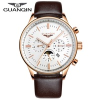 Men Watches Top Brand Luxury GUANQIN Quartz Watch Leather Watchbands Sport Waterproof Casual Relogio Masculino Montre Homme