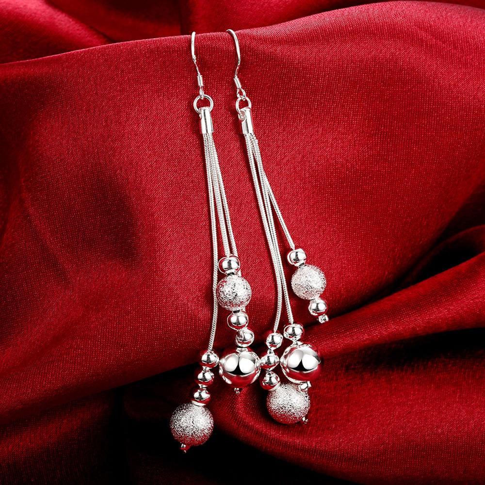 NPASON 2018 Silver plated fashion jewelry earring Line Beads drop earings Jewelery for Party Fashion gift for Women/Girls E006
