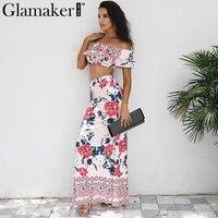 Glamaker Boho floral off shoulder summer dress Women ruffle two piece suit crop long beach dress Evening party dress vestidos