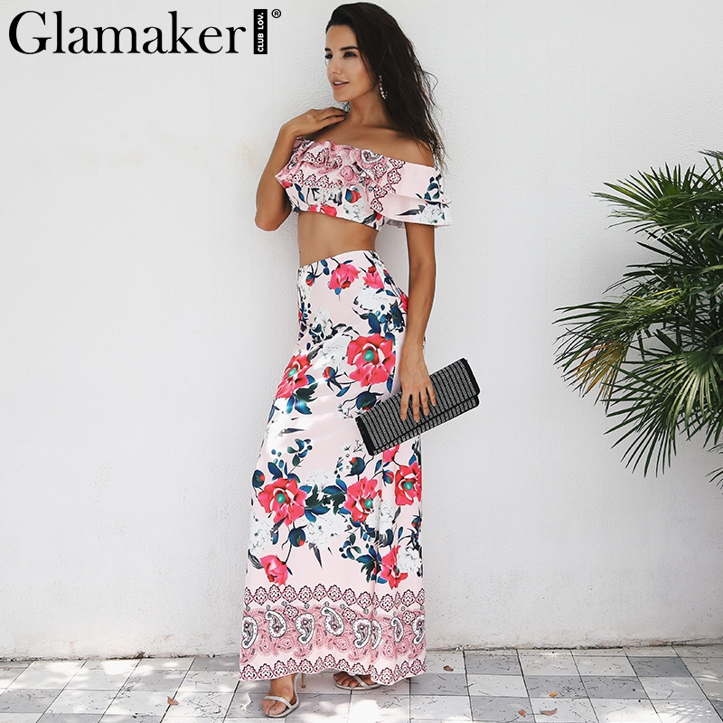 Glamaker Boho floral off shoulder winter dress Women ruffle two-piece suit  crop long beach dress Evening party dress vestidos