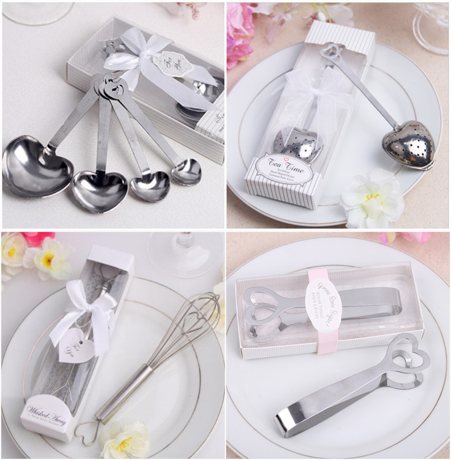 Stainless Steel Heart-Shaped Sugar Clip Measuring Spoons With Gift Box Love Heart Tea Infuser Egg Beater Wedding Party Favors