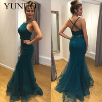 Two Piece Prom Dress Long Mermaid Dress Prom Sexy Spaghetti Strap Evening Gowns Organza Lace 2019