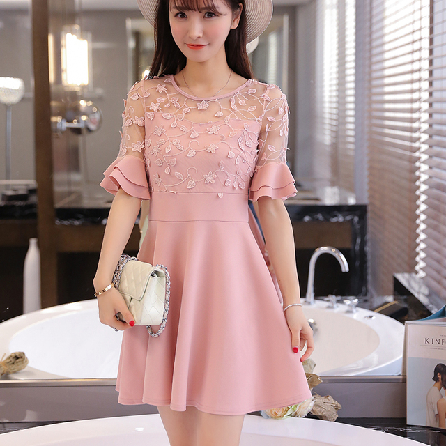 Summer 2016 New Korean Style Women Fashion Formal Dresses
