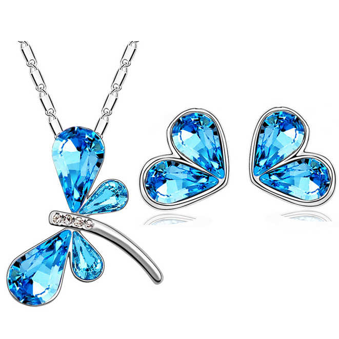 Austrian Crystal dragonfly heart Pendant necklace earrings fashion Jewelry Sets girl free drop shipping top quality Brand design