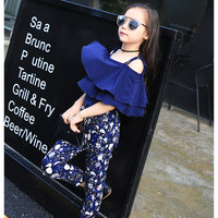 Girls Summer Clothes Set New Fashion Shoulderless Shirt And Long Pants Suit Outfit Clothing For Children