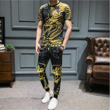 XIU LUO Brand Fashion China dragon Short Sleeve + trousers summer Suit Male Garment hot sale Brand Handsome track Suit Male(China)