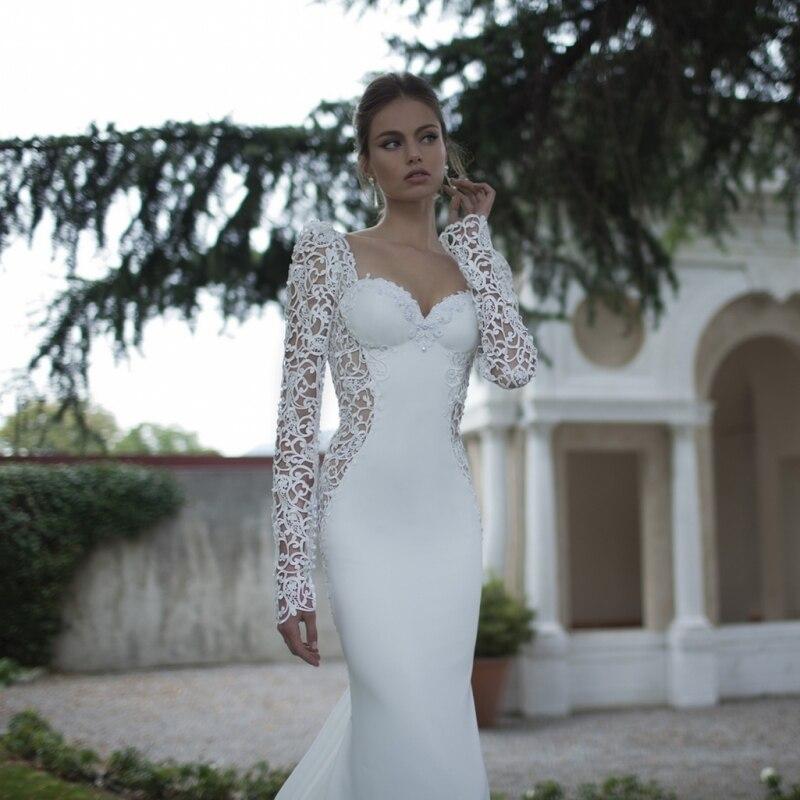Romantic illusion mermaid lace wedding dresses sexy for Illusion sweetheart neckline wedding dress