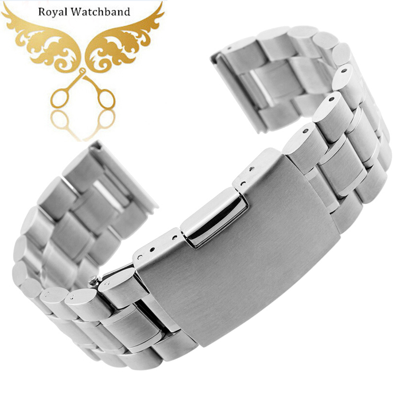 14mm 16mm 18mm 19mm 20mm 22mm 24mm 26mm New High Silver <font><b>PVD</b></font> Metal <font><b>Watch</b></font> Band <font><b>Strap</b></font> Bracelets Straight End image