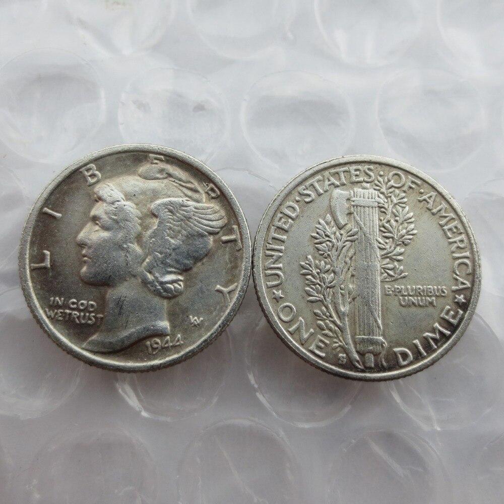 МЕРКУРИЙ ГОЛОВА DIMES 1944-s Даты Скопировать Монеты
