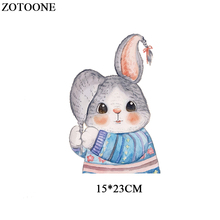 ZOTOONE Iron On Transfers For Clothing Kids Heat Press DIY Accessory Washable Badges Lovely Rabbit Patch Set Clothes Dresses