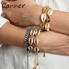 CANNER Bohemian Weave Sea Shells Beads Bracelet Gold Boho Bracelets for Women Shell Charm Jewelry pulseras mujer FI
