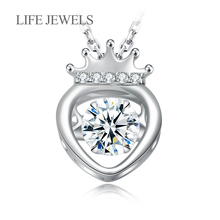 Authentic 100% 925 Sterling Silver Lovely Crown Exquisite Heart Lovel Women Pendant Necklace Luxury Jewelry Gift