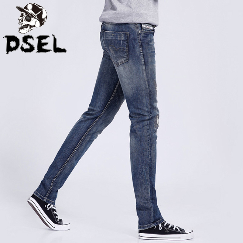 Blue Color Denim Stretch Skinny Jeans Men Destroyed Ripped Jeans Casual Leisure Pants High Quality DSEL Brand Men Jeans Trousers patch jeans men slim skinny denim blue jeans ripped trousers famous brand dsel jeans elastic pants star mens stretch jeans w701