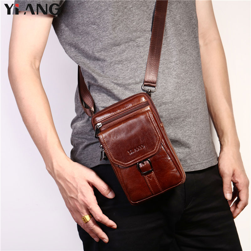 2018 NEW YIANG Fashion Brand Men Genuine Leather Single Cross body Bags Business Casual Waist Packs Male Travel Shoulder Bags iwhd american retro vintage pendant lights fixtures edison loft industrial pendant lighting hanglamp lampen wrount iron