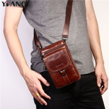 2018 NEW YIANG Fashion Brand Men Genuine Leather Single Cross body Bags Business Casual Waist Packs Male Travel Shoulder