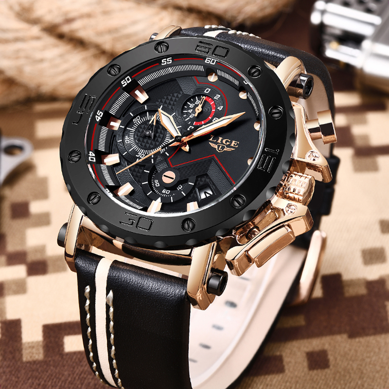 2019LIGE New Fashion Mens Watches Top Brand Luxury Big Dial Military Quartz Watch Leather Waterproof Sport Chronograph Watch Men 2