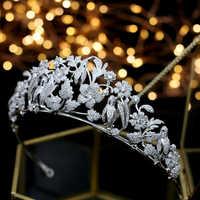 Tiara nupcial de lujo gran corona de cristal, corona de boda accesorios para el cabello diadema desfile adornos para el cabello