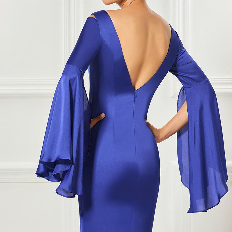Weddings & Events Tanpell Backless Short Cocktail Dress Indigo Halter Sleeveless Knee Length Sheath Dress Women Party Customed Cocktail Dresses