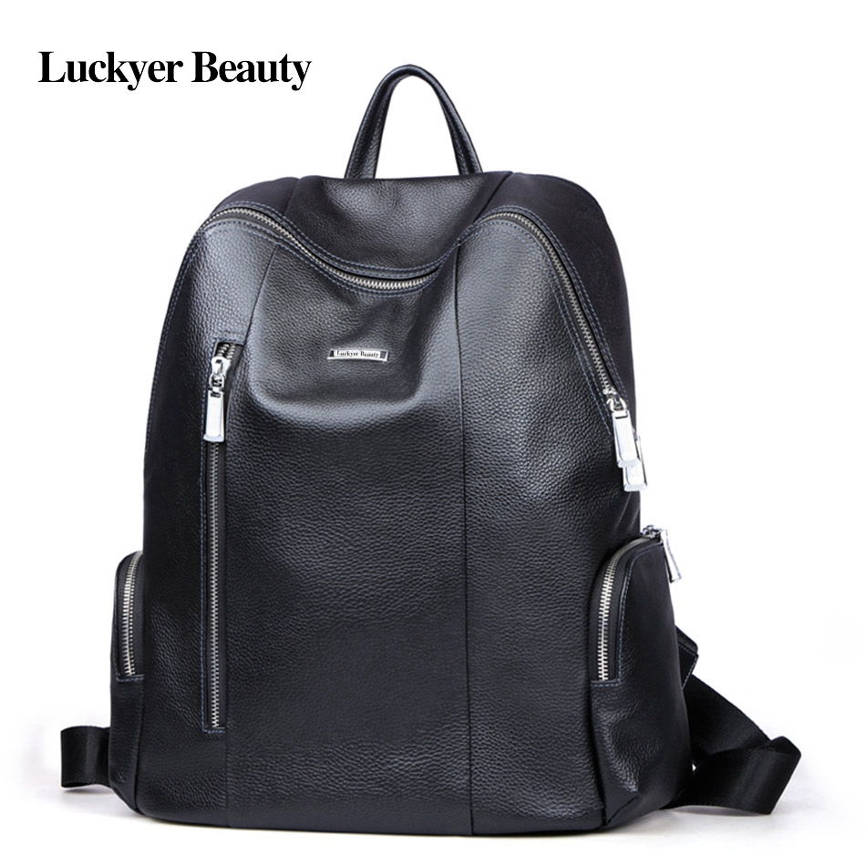 Laptop bags korea - Luckyer Beauty Genuine Leather Backpack Unisex Youth Teenage School Bag Fashion Korean Style Female Laptop Bag