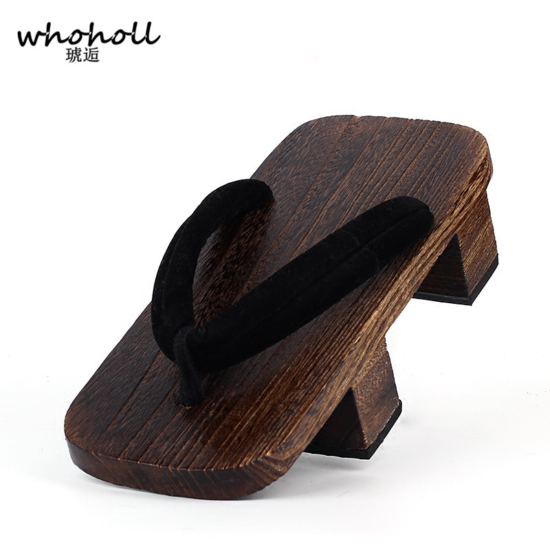 WHOHOLL Geta Two-toothed Sandals Anime Cosplay Japanese Mens Clogs Flip-flops Wooden Slides Costumes Shoes
