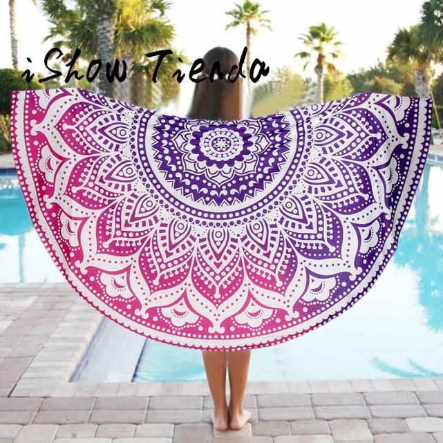 Round Beach Pool Home Shower Towel Blanket Table Cloth Yoga Mat Toalla De Playa De Mantel Estampada #P