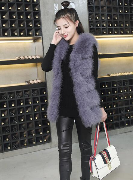 2019 Knitted Real True Ostrich Fur Vest Luxury Factory OEM Customize Turkey Feather Fur Gilet WSR115