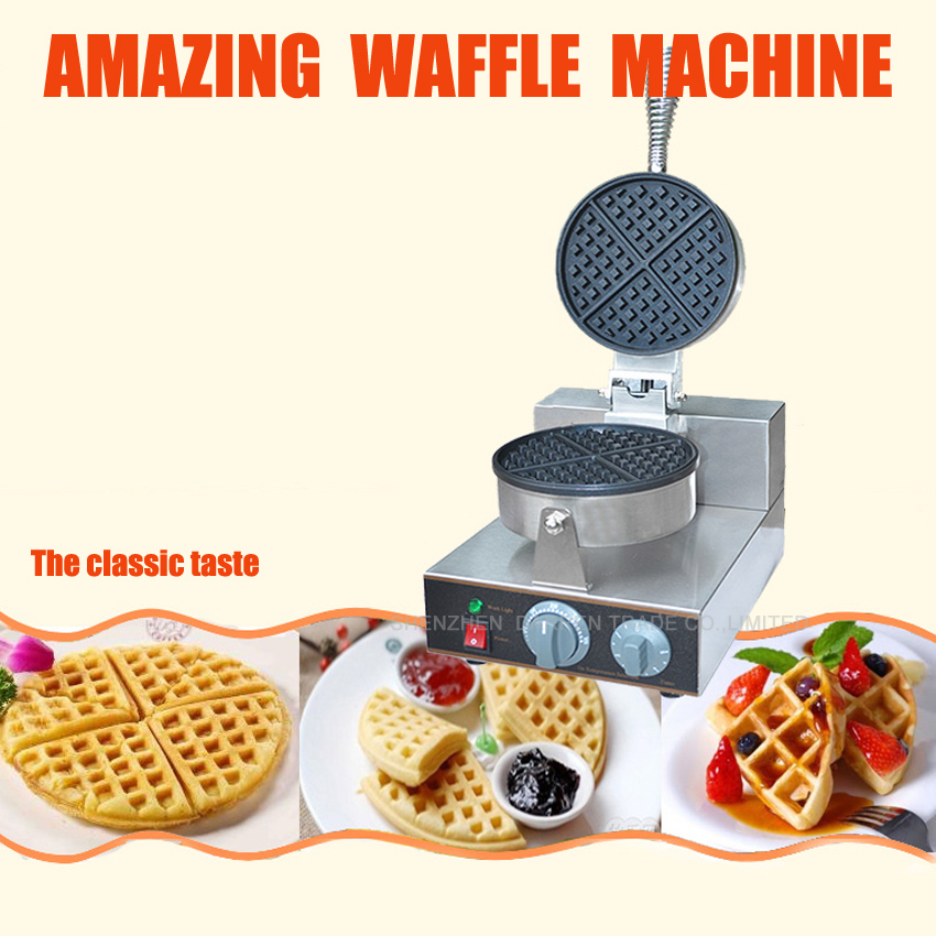 1pc high quality One head round waffle machine waffle maker waffle machine Commercial Household Electric 110V/220V one head rotary belgian waffle maker machine for commercial restaurant machinery wholesale