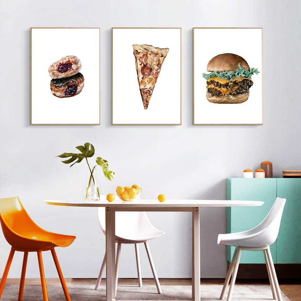 Nordic Food Farmhouse Decor Pizza Poster and Print Hamburg Art Canvas Painting Kitchen Wall Picture For Dinner Room Unframed