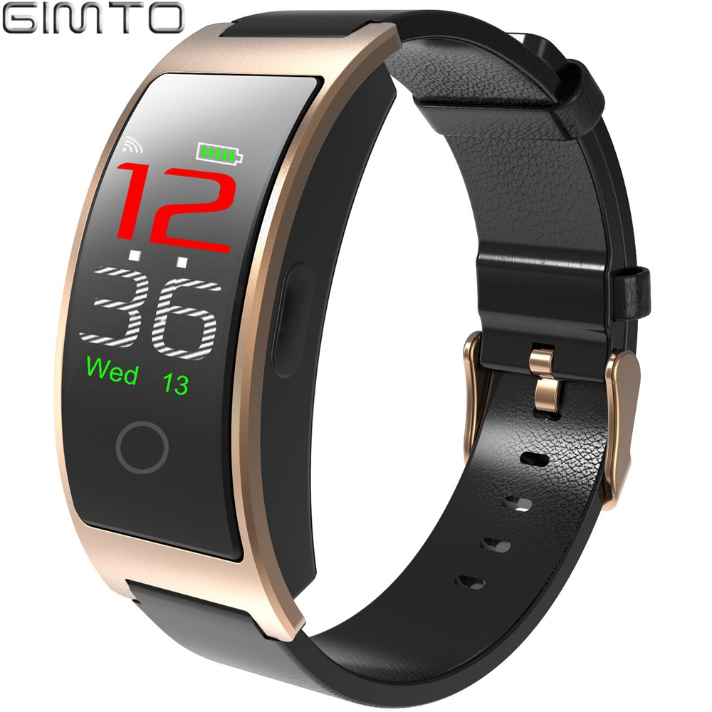 Luxury Men Bracelet Smart Watch Gold GIMTO Brand Genuine Leather Android IOS Ihone Bluetooth Sport Watch Color Screen DisplayLuxury Men Bracelet Smart Watch Gold GIMTO Brand Genuine Leather Android IOS Ihone Bluetooth Sport Watch Color Screen Display