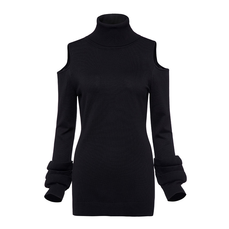 Sisjuly Women S Casual Sweater Solid Black Full Sleeve Turtleneck Sweater Reched One Size 2017 Autumn