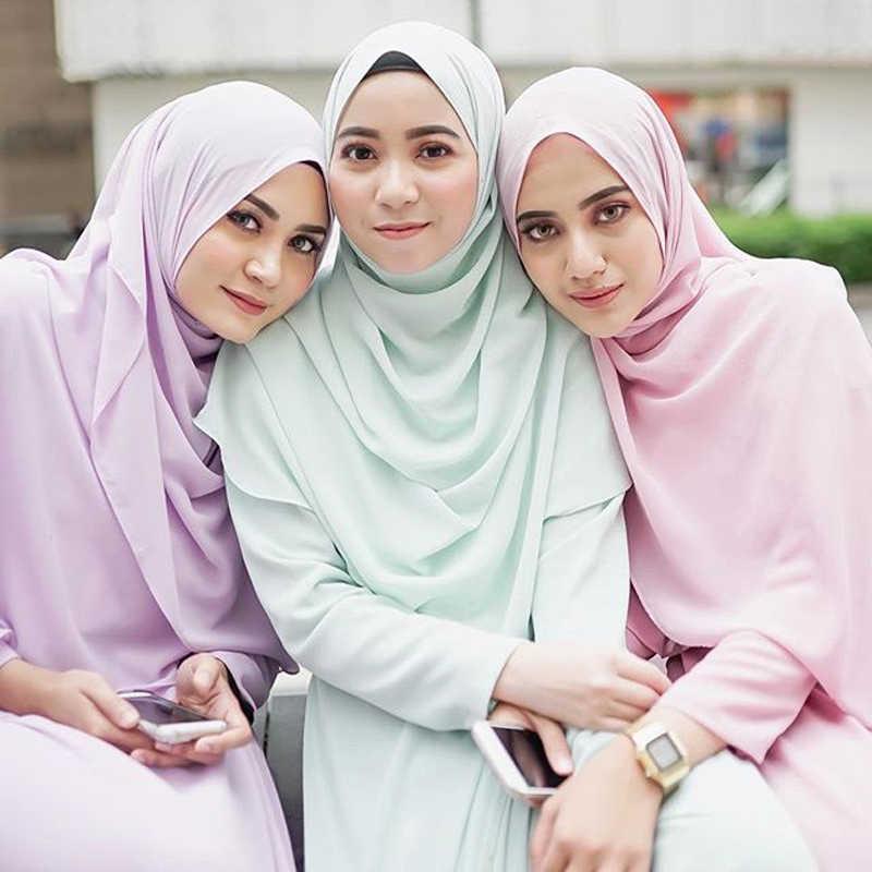 Lujo suave chifón musulmán Hijab bajo bufanda liso chal islámico mujer abrigo foulard femme árabe bufanda turbante instantáneo 170*75cm