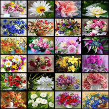 5D DIY Diamond Flower Arrangement Vase Cross Stitch Embroidery Mosaic HomeSticking DecorSticking embroide
